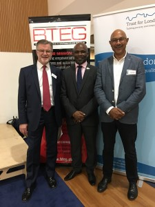 (L) Jeff Hayes, Chair of Trust for London, Bola Abisogun FRICS and (R) Bharat Mehta, Chief Executive, Trust for London